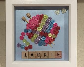 Knitting Wool Button Art Frame, Knitting Needles and Wool, Knitting Button Art, Ball of Wool, Personalised Frame, Button Art Frame