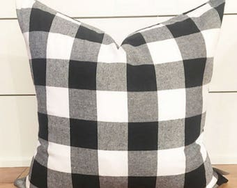 Buffalo Plaid Black and White 18 x 18 Pillow Cover, Plaid Pillow Cover, Gift