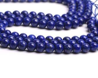 row 60 Lapis Lazuli beads 6mm natural