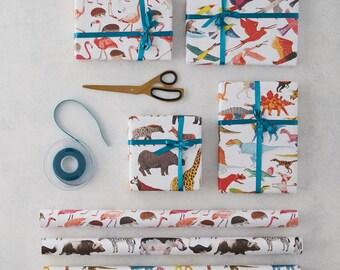 Gift Wrapping Paper Four Sheets, Animal Print, Dinosaur Print, Bird Print, Flamingo Print, Birthday gift wrap, kids gift wrap, gift paper