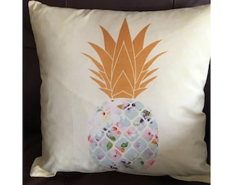 Pineapple Throw Pillow on Light Yellow Background