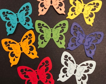 8 Butterflies, Handmade, Turquoise, Orange, Red, Pink, Yellow, Green, Blue, Navy, Cards, Sizzix