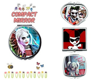 Harley Quinn compact mirror, makeup mirror, compact make up mirror, small mirror, double sided compact makeup mirror, purse mirror