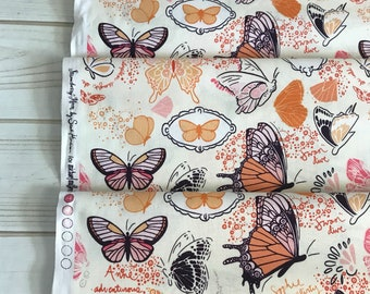 On Sale! Butterfly Sketchbook Orange by Michael Miller Quilting Cotton
