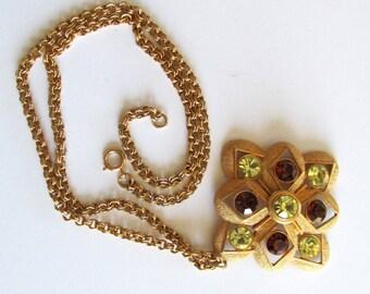 Vintage Sarah Coventry gold tone faux citrine topaz stone necklace