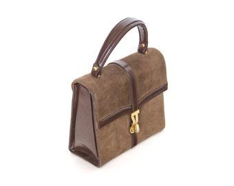 Vintage leather handbag. CORET acc bag. Leather suede bag. Small purse. Brown leather. Top handle handbag.
