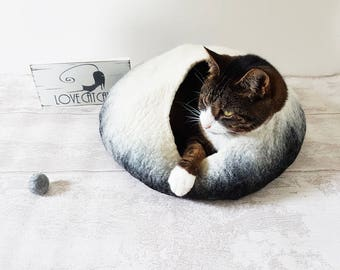 Cat Bed Cat Cave Cat House Cat Igloo Felted Wool in White and Black with toy ball for cats