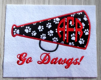 Embroidery design, Cheerleader megaphone monogram frame, 3 size applique, machine embroidery, no fonts included, No team name included