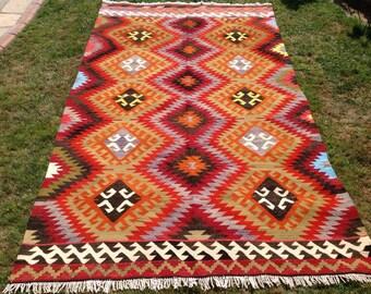 """Kilim rug, 108"""" x 63.5"""", kilim, Vintage Turkish kilim rug, area rug, kilim rug, organic wool kelim, vintage rug, bohemian rug, Boho, rug,741"""