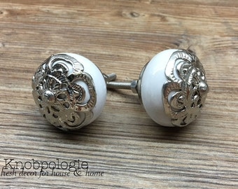 SET OF 2 White Ceramic Knob with Silver Filigree Overlay - Drawer Pull - Shabby Chic Home Decor