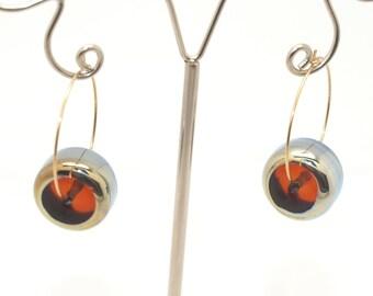 Earrings: Amber Hoop Earrings - Glass Bead Jewelry -  Lampwork Jewelry - Beadwork Jewelry - Beaded Jewelry - Circle Jewelry- gift