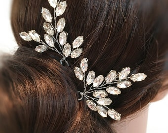Wedding Hair Pins, Bridal Hair Pins Rhinestone Headpiece, wedding hair accessories bridal headpiece, hair pins silver, rhinestone hair pins