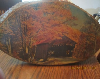 Covered Bridge Mammoth Cave Kentucky Picture on Wood with Bark Souvenir !!SALE!!