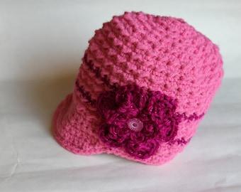 Crochet Flower Textured Newsboy Hat, Crochet Hat, Pink Flower Hat, Toddler Winter Accessory (CH-015/Bubblegum and Sparkle Fuchsia/1-3 Years)