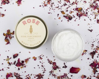 Rose Body Butter - Rose Whipped Body Butter - With Shea Butter and Cocoa Butter - Vegan Body Butter