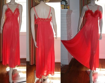 Vintage  J C Penney Red Boa Long Nightgown M Wide Sweep Hem Lacy Double Spaghetti Straps