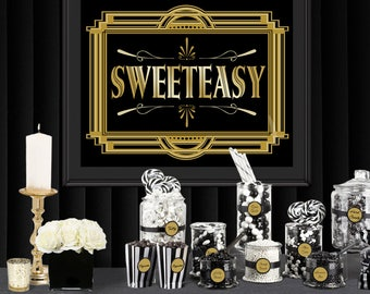 Sweeteasy Gatsby Party Poster - INSTANT DOWNLOAD - Printable Wedding & Birthday Party Art Deco 1920s Sign - 3 sizes included