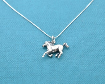 """Little girl's horse necklace in sterling silver on a 14"""" sterling silver box chain. Little girls jewelry. Little girl's sterling necklace."""