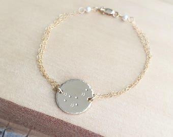 Aries Constellation Bracelet, Zodiac Jewelry, Aries Zodiac Sign, April Birthday Gift, Friendship Bracelet, Best Friend Gift, 14k gold fill