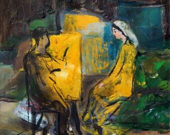 Modern painting, Giclee art print, Oil painting print, Woman print, Abstract figurative artwork, Living room decor, Modern wall art print