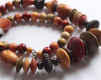 Colorful Wood Tribal Necklace