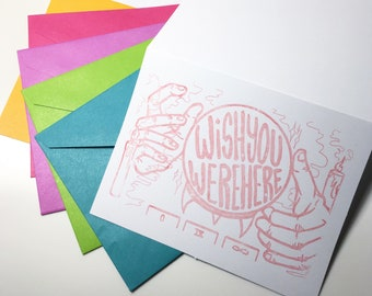Wish You Were Here - Blank Greeting Card, Pack of 6 or Single Cards, Risographs, Risoprint, Witch Hands, Long Distance Friend