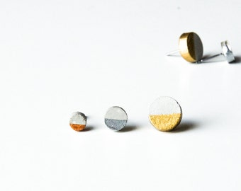 Circle Concrete Earrings Gold Dipped, Silver Dipped, Copper Dipped Minimalist Geometric Studs Hypoallergenic