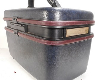 Vintage Samsonite Silhouette 4 Train Case, Navy Overnight Bag,  Mid Century Carry On Luggage