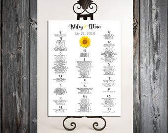 Sunflower Seating Chart for Table Assignments for your Wedding Reception - Printable PDF File