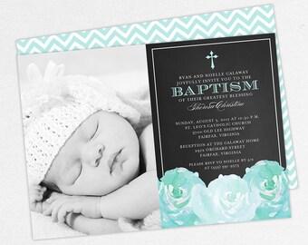 Photo Baptism Invitation, Christening Invitation, Girl Baptism, Printable Baptism Invitation, PDF, Floral, Watercolor, Chalk, Blue, Haley