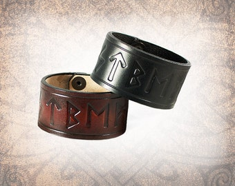 Leather Cuff, Brown Leather Cuff, Leather Wristband, Leather Bracelet, Leather Band, Norse Cuff  - Runic - Custom to You (1 cuff only)