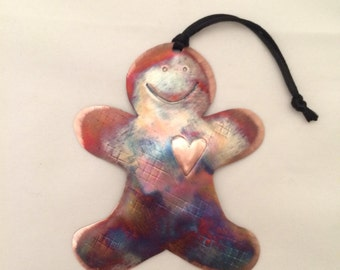 Handcrafted Copper Gingerbread Boy Ornament