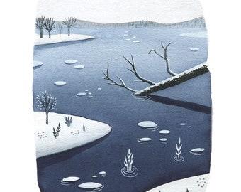 blue winter landscape, winter landscape illustration, winter landscape watercolor, winter landscape art print, modern winter landscape
