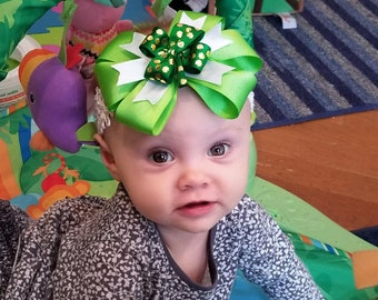 Lucky Charm Bow, Green Gold (Hair Bow Attached by Band, Newborn-3 Yrs)