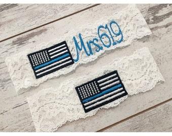 THIN BLUE LINE Garter set / Police Wedding Garter / lace garter / toss garter