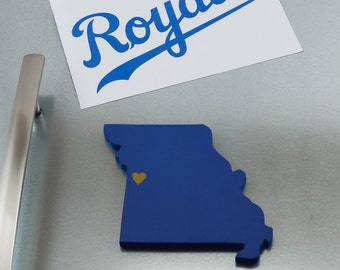"""Kansas City Royals """"State Heart"""" Magnet, handcrafted wood with official team colors"""