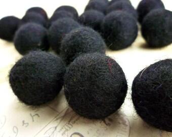 Felt Balls x 20 - Black - 2cm