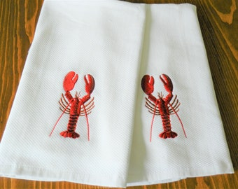 NEW Red Lobster Towels, White Terry Dish Towels, Lobster Towels, Seashore Towels,Beach House,  Clambake Towels, Never Used