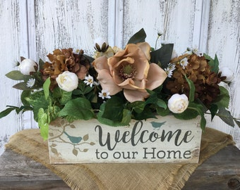 Welcome to Our Home Wood Box Floral Arrangement, Spring Floral Arrangement, Summer Floral Arrangement, Everyday Centerpiece, Floral Decor