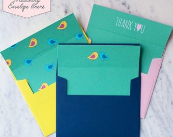 Printed Matching Envelope Liner | A2 Sized Liner | Wedding Thank You Card | Bridal Shower Gift | Thank You From The Newlyweds or Mr & Mrs