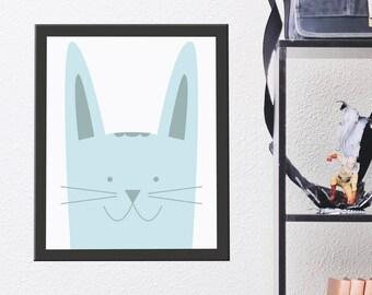 Nursery Animal Print, Rabbit Wall Art, Kids Room Poster, Printable Kids Gift, Printable Artwork, Instant Digital Download, Cute Pastel Blue