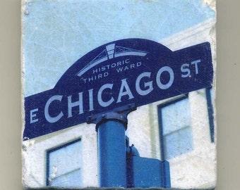 Chicago Street Sign - Third Ward District in  Milwaukee Wisconsin - Original Coaster
