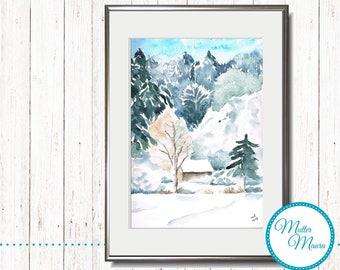 """Watercolor """"Fresh snow"""" original painting"""
