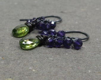 Peridot, Amethyst Earrings August February Birthstone Cluster Oxidized Sterling Silver Gift for Wife