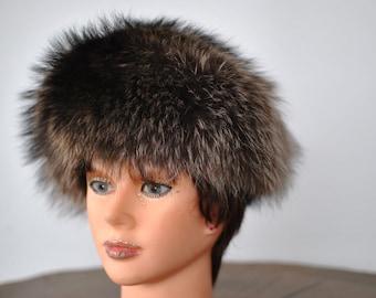 Vintage FOX FUR HAT , glamorous fur hat , luxurious fox fur hat...(004)
