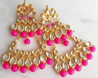 Pink and Gold Kundan Indian Jewelry Set with Large Earrings and Red Kundan Passa - Indian Wedding Jewelry, Indian Nose Ring, Nath, Kundan