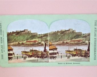 Antique Atlas Stereograph Card Koblenz Castle Germany Rare Atlas View Company Chicago Vintage Steroview Card in Color Collectible Vintage