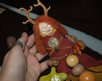 Sleeping Forest Faerie with Red Hair and Antlers, Pagan Spirit Doll with Charms