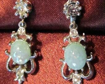 Vintage Silver Dangle Screwback Earrings