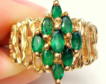 Sz 6.5, 10K Gold, Marquise Cut Emerald Cluster Ring, Solid Yellow Gold Filigree, Gold Estate Ring, Gold Estate Jewellry, Emerald Ring